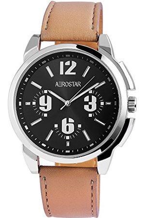 Aerostar Herr analog kvartsklocka med lädererimitat armband 211021100006