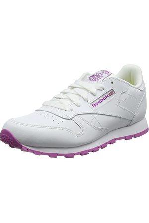 Reebok Unisex barn klassiska låg-topp-sneakers, White Lurex White Pink Frenzy3.5 UK