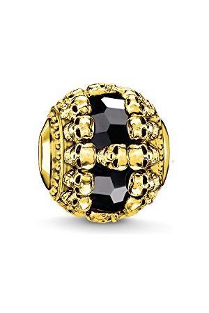 Thomas Sabo Dam herr pärla dödkott karma Beads 925 sterlingsilver 750 gult svart K0240-177-11