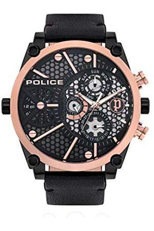 Police Polis unisex vuxna analog kvartsklocka med läderarmband PL15381JSBR.61