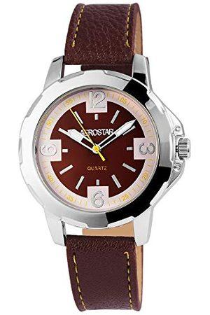 Aerostar Herr analog kvartsklocka med lädererimitat armband 211027000010