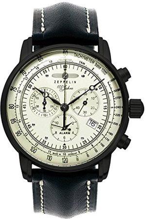 Zeppelin Unisex kronograf kvartsklocka med läderarmband 7680-3