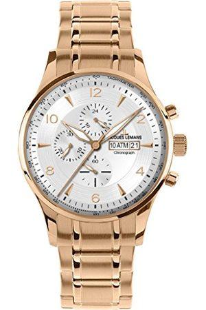 Jacques Lemans Herr analog kvarts smart klocka armbandsur med rostfritt stål belagt armband 1–1844 M