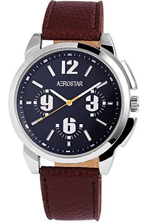 Aerostar Herr analog kvartsklocka med lädererimitat armband 211023000006
