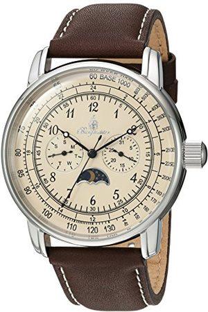 Burgmeister Herr analog kvartsklocka med läderrem BM335-195A