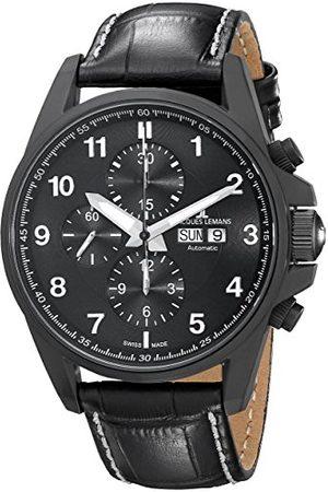 Jacques Lemans Mäns kronograf automatisk smartklocka armbandsur med läderarmband 1–1750C