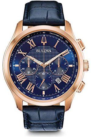 BULOVA Mäns kronograf kvarts klocka med läderarmband 97B170