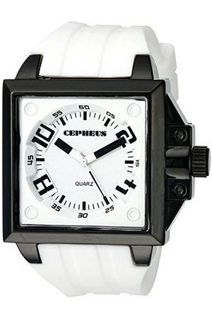 CEPHEUS Herr kvartsklocka med urtavla analog display och silikonrem CP904-676