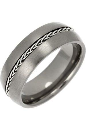 THEIA Titan och silver inlagd domstol matt kedja 8 mm ring e Titan, W, colore: Metallisk, cod. TIR1356-8/W