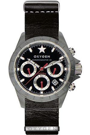 Oxygen Unisex-armbandsur SPRINT 42 kronograf kvarts läder EX-C-SPR-42-NL-BL