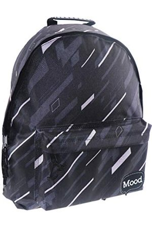 MUST Måste Rayures humör sigma unisex vuxnas ryggsäck, (Noir Blanc), 15 x 40 x 30 centimeter (B x H x L)