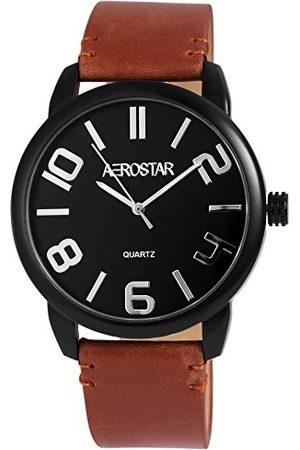 Aerostar Herr analog kvartsklocka med läderarmband 21107100004