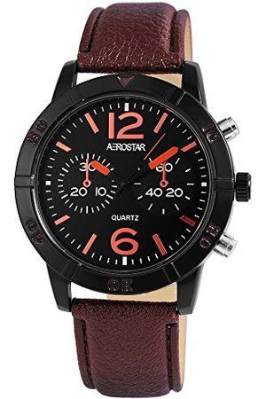 Aerostar Herr analog kvartsklocka med lädererimitat armband 211071200002