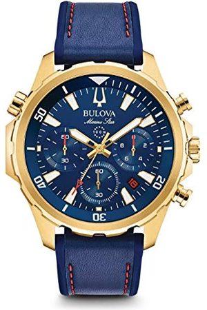 BULOVA Mäns kronograf kvarts klocka med läderarmband 97B168