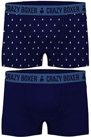 Crazy Boxer Män T473-1 m Basic-Calzoncillos Tipo bóxer för Hombre (Certificado Gots, 2 Unidades) Crazy Blue M, M