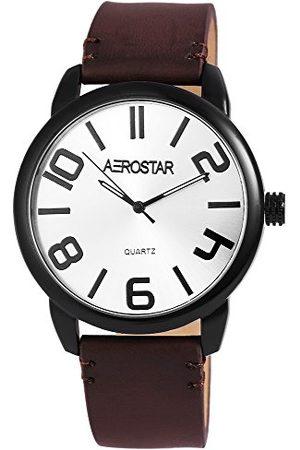 Aerostar Herr analog kvartsklocka med läderrem 2.11073E+11