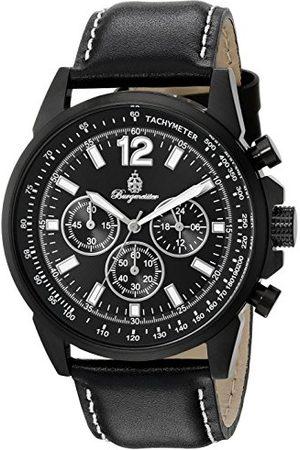 Burgmeister BM608-622A Washington, Gents klocka, analog display, kronograf med medborgarrörelse – vattenbeständig, snygg läderrem, klassisk herrklocka