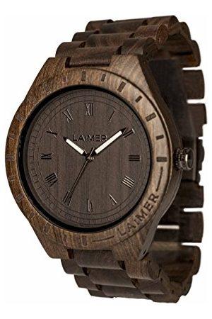 Laimer Träklocka – armbandsur Black Edition av ädelträ – trä – ur– analog herrkvartsur med lysvisare – Ø 50 mm – Noll avfallsförpackning av naturligt trä