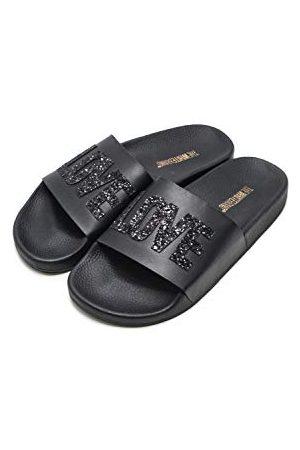 THE WHITE BRAND Unisex barn älskar peeptoe sandaler, Metallic Black Metallic Black Metallic Black35 EU