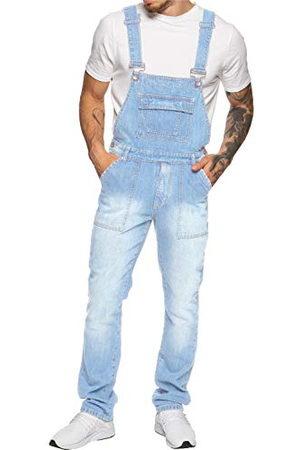 Enzo Herr EZD390 VEN denim hängselbyxor overaller, lätt stonewash, 44 (förpackning med 25)