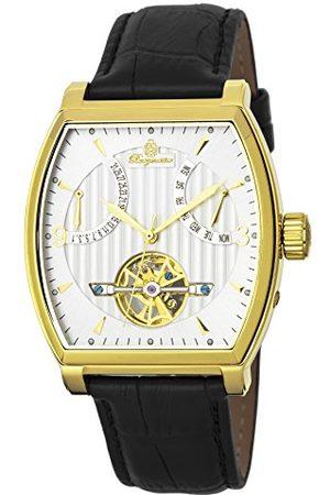 Burgmeister Herr datum klassisk automatisk klocka med läderarmband BM230–202