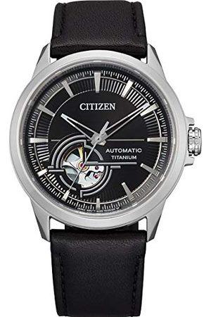 Citizen Mäns analog automatisk klocka med läderarmband NH9120-11E