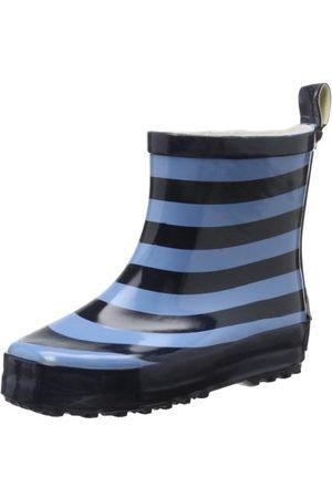 Playshoes Barn halvskaft gummistövlar av naturgummi, trendiga unisex regnstövlar med reflektorer, randiga, marin ljusblå 639-18 EU
