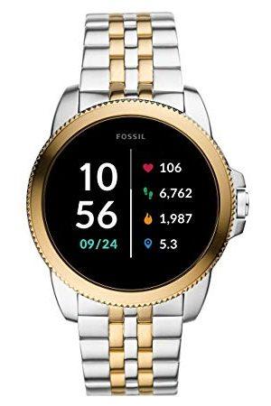 Fossil Män pekskärm Smartwatch 5 5E. Generation med högtalare, puls, GPS, NFC och smartphone-aviseringar Rostfritt stål tvåfärgad