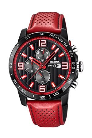 Festina Unisex vuxen kronograf kvarts klocka med läderarmband F20339/5