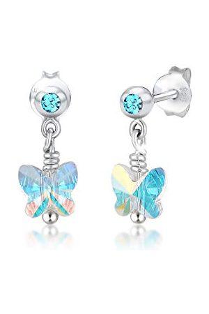 Elli Barn äkta smycken örhängen fjäril barn med Swarovski kristall blå 925 sterlingsilver