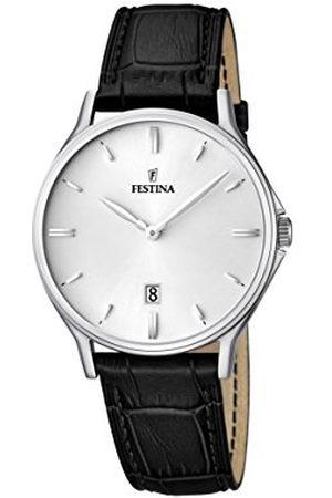 Festina Man Klockor - Kvartsklocka för män med urtavla analog display och läderrem F16745/2