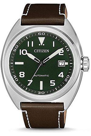 Citizen Mäns analog automatisk klocka med läderarmband NJ0100-38X