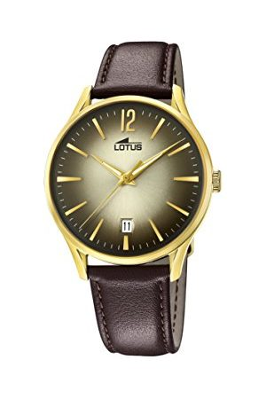 Lotus Herr datum klassisk kvartsklocka med läderarmband 18403/2