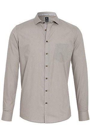 Pure Herr 4032-464 City Black lång ärm klassisk skjorta, tryck mellanblå, XXL