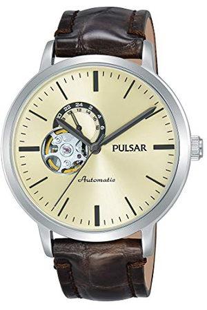 Pulsar Män analog automatisk klocka med läderarmband P9A007X1