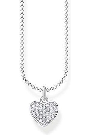 Thomas Sabo Dam halskedja hjärta pavé 925 sterlingsilver, 38–45 cm längd