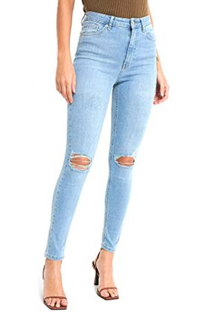 NA-KD Damer skinny High Waist Destroyed jeans, ljusblå, 40