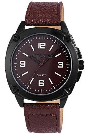 Aerostar Herr analog kvartsklocka med lädererimitat armband 211077000008