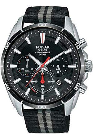 Pulsar Sport herrklocka Solar Chronograph rostfritt stål med textilband PZ5091X1