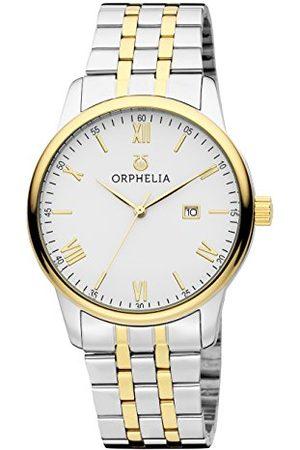 ORPHELIA Herr kvartsklocka analog klassisk display och rostfritt stålrem Armband /