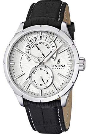 Festina Herrarmbandsur XL klassisk retro kronograf läder F16573/1