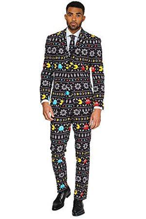 OppoSuits Herr rolig ful jul pac-man – full kostym: Jacka, byxor & slips, 44