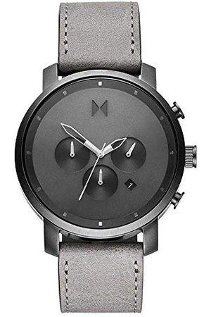 MVMT Herr analog kvartsklocka med läderkalvläder armband D-MC01-BBLGR