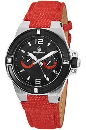 Burgmeister Herr kvartsklocka med urtavla analog display och rött tyg och kanvasarmband BM220-924-1