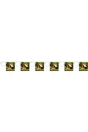 3dRose Landsstuga – nyckelringar, 5,7 x 5,7 cm, uppsättning av 6 nyckelringar