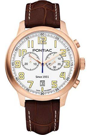 Pontiac Herr kronograf schweizisk kvartsklocka med läderrem P40015