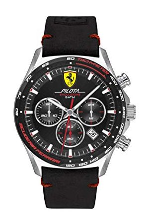 Scuderia Ferrari Analog kvartsklocka för män med läderrem 0830710