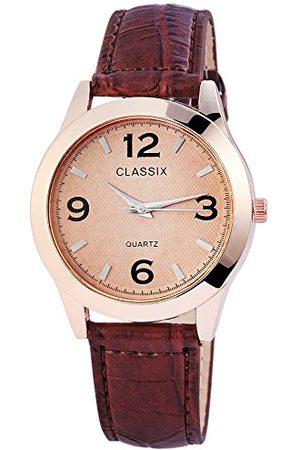 CLASSIX Herr analog kvartsklocka med läderarmband RP4783750010