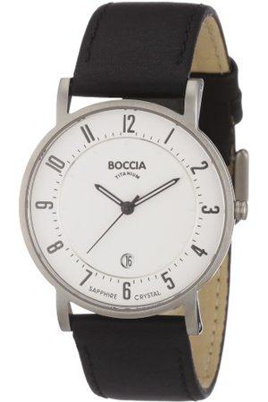 Boccia Analog kvartsklocka för män med läderrem – B3533-03