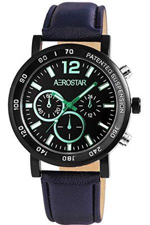 Aerostar Herr analog kvartsklocka med läderarmband 21107110001